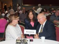 Treasurer Deb Goldberg with Claudette and Henry Duhamel